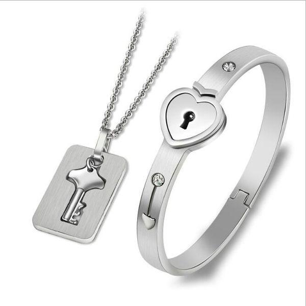 Takı setleri paslanmaz çelik takı seti sevgilisi kilit bileklik bileklik anahtar kolye kolye ücretsiz kargo NE966