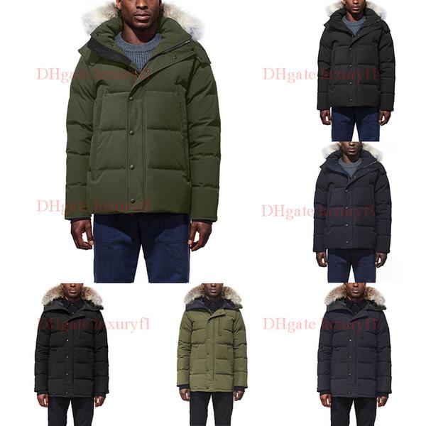 Wolf Fur Men Winter Jacket Windbreaker Clothes Mens 2019 Luxury Designer Jackets Goose Down Jacket North Parka Doudoune Homme E45-47