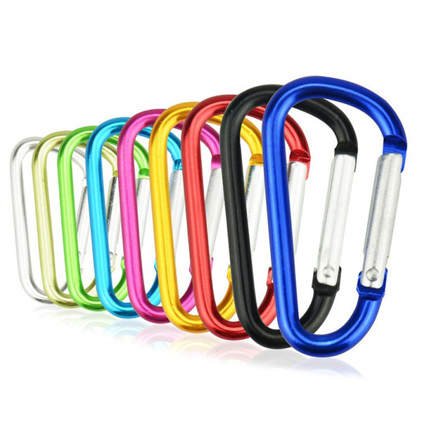High Quality 4Cm-7.2cm D-Ring Carabiner Colorful Durable Climbing Hook Aluminum Keychain Hiking Camping Accessory Fit Outdoor Sport