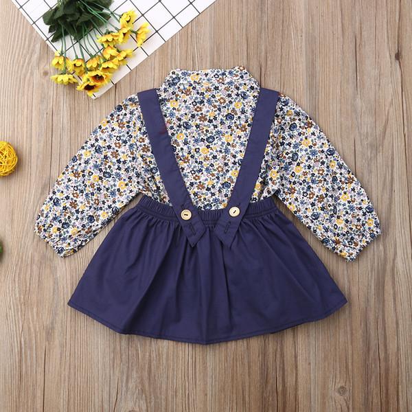 Kızlar Giyim Seti Bebek Çocuk Kız Bebek Çiçek Uzun Kol Çiçek Pamuk + Topraklar Mini Etek Kıyafet Set Tops