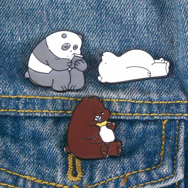 Animal Cartoon Pin We Bare Bears brooch Cute Grizzly Panda Ice Bear denim Enamel Pins Kawaii Lapel Brooches badges Fashion Gifts drop ship