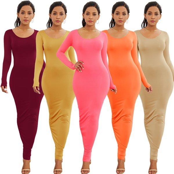 2018Autumn Winter New Women's Sexy Clubwear Party Dress Fashion Elegant Long Sleeve O-Neck Bodycon Maxi dress 12Colors S M L XL
