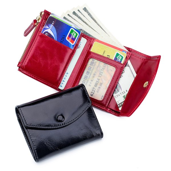 Charm2019 Thin Concise Envelope Ma'am Penny Package Three Fold Man Head Layer Wax Oil Wallet Practical