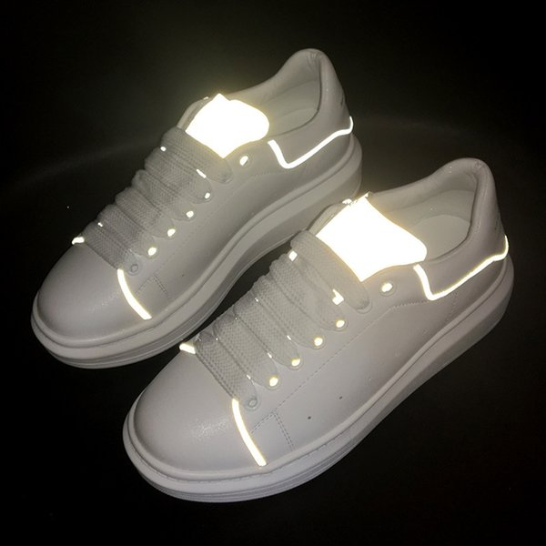 reflective white leather