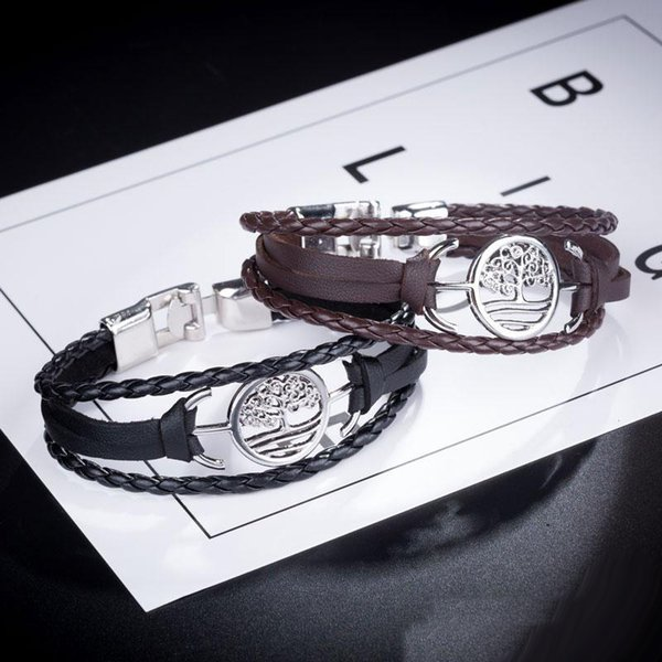 Новые ювелирные изделия дерева ручной работы Punk Of Life Rope Браслеты Black Brown Leather Men браслеты партии шарма Подарки