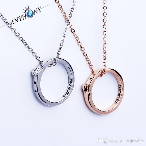 New romantic pendant necklaces personalized Forever word ring necklaces simple couple jewelry free shipping