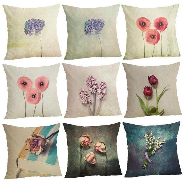 45cm Fashion Cotton Linen Throw Pillowcase A Flowers Hot Sale 18 Inch New Home Sofa Back Decor Cushion Cover with Hidden Zipper