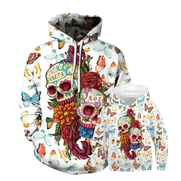 INS Skull hoodies mommy and daughter matching outfits family matching outfits long sleeve Hoodie Sweatshirts loose Sports Hoodies A7600