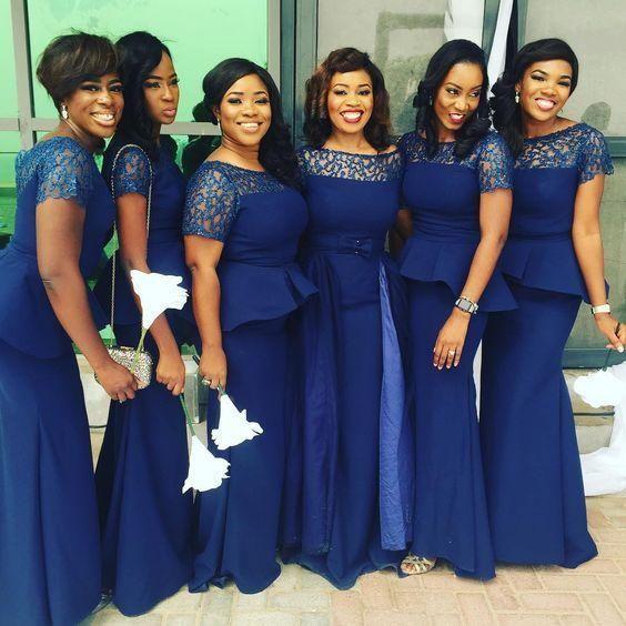 Navy Plus Size Bridesmaid Dress Lace Mermaid Boat Neckline Peplum African  Wedding Dresses Country Vestido De Novia Party Dress Maid Of Honor Childs  ...
