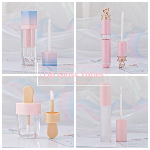 Meninas Lip Gloss tubos de plástico Tint DIY vazio Maquiagem Package Lipgloss Líquido Lipstick Case Beauty Packaging HHAa103