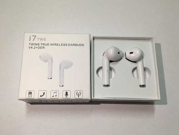 i7 TWS Bluetooth Headphones With Charge Cable Mic Mini Twins Wireless Earphones Portable In-ear Earbuds For Driver Retail Box Better HBQ
