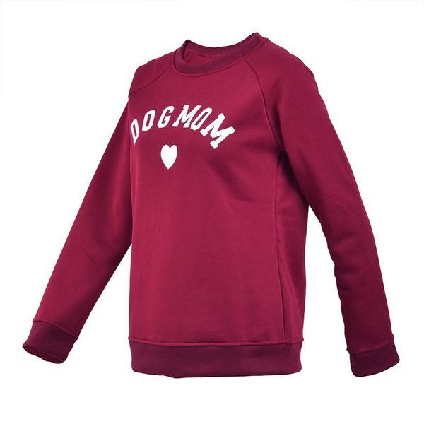 Dog Mom Women Plus Velvet Fashionable Long Sleeve Casual Sweatshirt Printing Heart-shaped Print Kawaii Sweatshirt Clothing