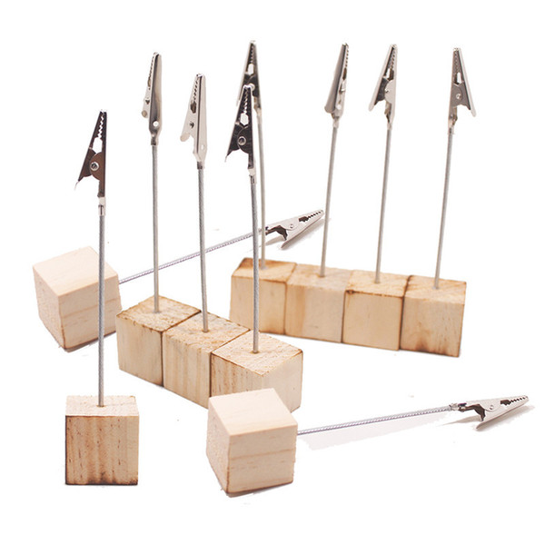 best selling Place Card Holders with Alligator Clip Wooden Cube Base Photo Memo Clip Wood Stand Office Party Supplies