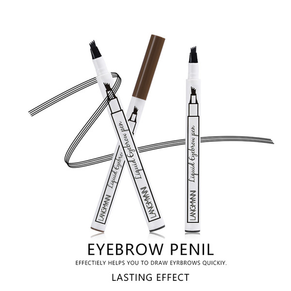 New Waterproof Fork Tip Eyebrow Tattoo Pen Smudge Proof Super Durable Eye Brow Wenkbrauw Tattoo Pen Beauty Tools Brand Langmann Permanent Eyebrows