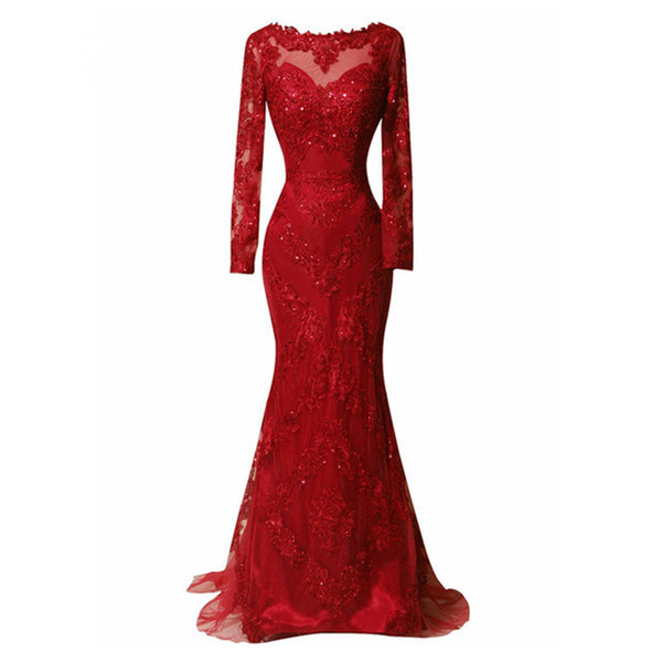 2018 dark red lace mermaid evening dresses sweep train beads long sleeves prom gowns custom sequins women formal dress prom