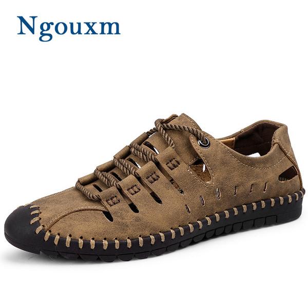 Ngouxm Sandals Men Summer Novelty Handmade Leather Men's Flat Sandals Elastic Band Design Sewing Outdoor Man Casual Shoes