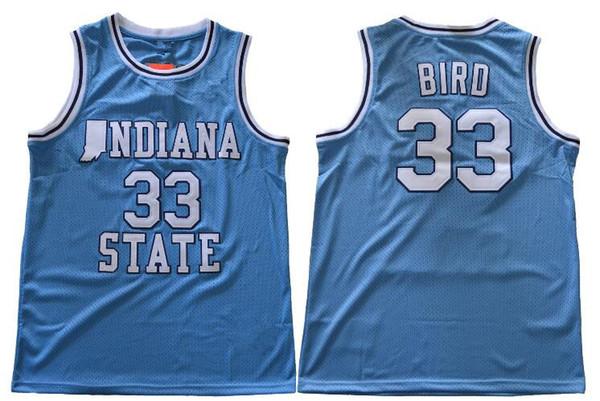 NCAA Indiana State Sycamores Larry Bird ISU Blue Springs Valley High School Swingman College Basketball Jersey