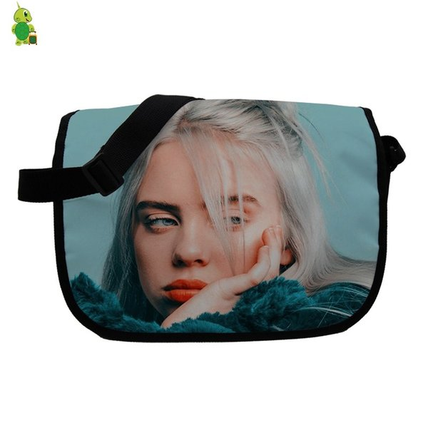 Hip Hop Billie Eilish Printing Women Messenger Bags School Shoulder Bags for Teenagers Boys Girls Students Crossbody Travel