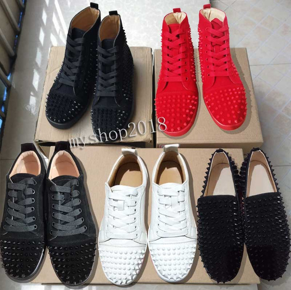 best selling Full red sole shoe Low Cut Suede spike Shoes For Men and Women High-top Shoes Party Wedding crystal Leather Sneakers red Flats shoes