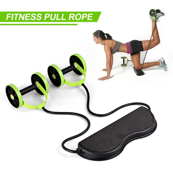 best selling AB Wheel Roller Double Muscle Trainer Elastic Rally Fitness Wheel Abdominal Power Resistance Bands Gym Arm Waist Leg Training