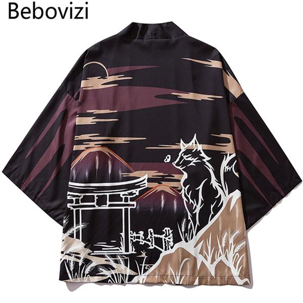 Bebovizi Japonya Tarzı Baskılı Siyah Ince Kimono Erkekler Japon Streetwear Ukiyo E Ceketler 2019 Rahat Giyim Robe