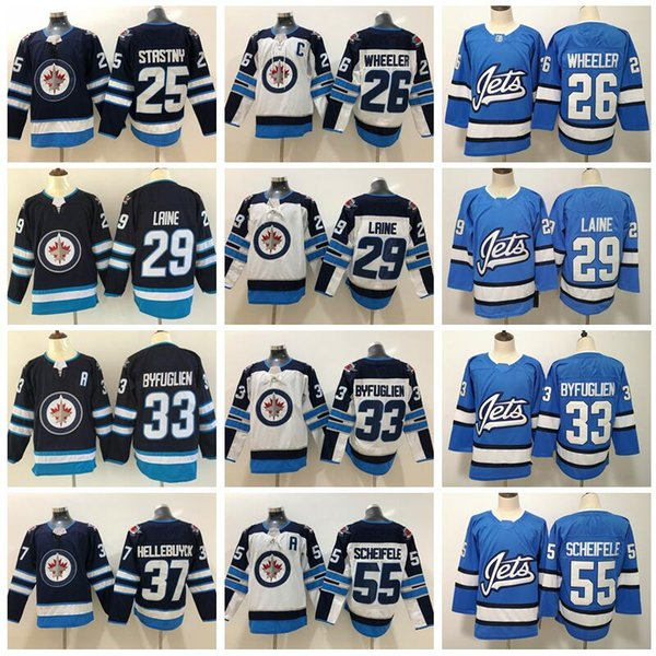 Winnipeg Jets 29 Patrik Laine Jersey 26 Blake Wheeler Dustin Byfuglien Mark Scheifele Paul Stastny Connor Hellebuyck Hockey Men Kids Blue