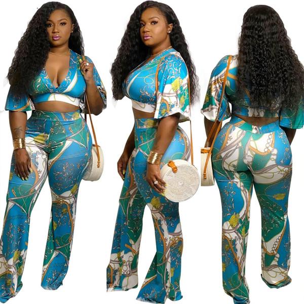 2019 nuove donne catena vintage stampa con scollo a V flare mezza lunghezza manica crop top gamba larga pantalone vestito 2 pezzi set tuta vestito