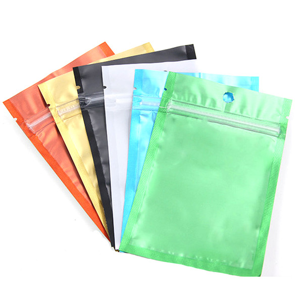 Colored + Clear Resealable Valve Zipper Plastic Retail Packaging Packing Bag Zip Lock Mylar Bag Ziplock Package Pouches