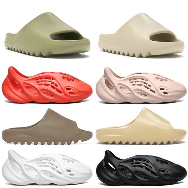 top popular 2020 kanye west Slipper Men Women Slide Bone Earth Brown Desert Sand Slide Resin mens Sandals Runner size 36-45 2021