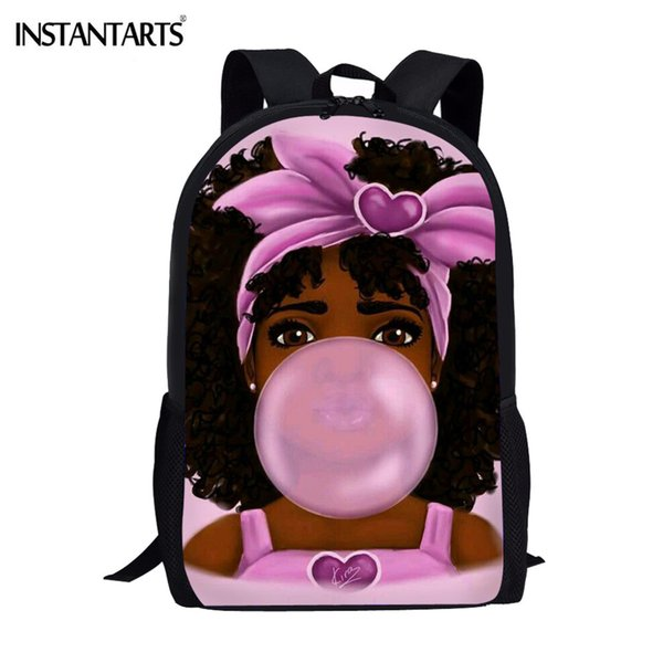 INSTANTARTS School Bags for Kids Casual Book Bags Black Girl Magic Afro Lady Printing Student Shoulder Backpack Teenager Mochila