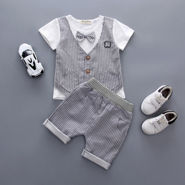 2019 New Baby Boys Summer Clothing Children Bow Tie Lattice T-shirt Shorts 2Pcs/Set Infant Gentleman Suit England Toddler Winset