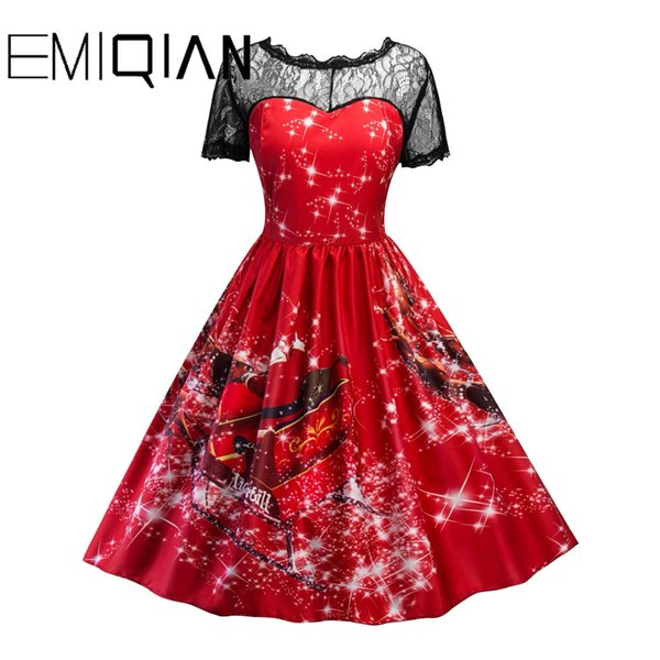 Europe And America Christmas Short Sleeve O Neck Knee Length Black Lace Party Dress Short Prom Dress Xmas Formal Dress Stores Gorgeous Prom Dresses