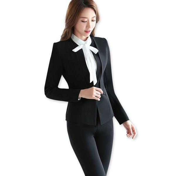 Compre Conjuntos De Dos Piezas Traje Formal De Pantalón Negro Estilo De Dama De Oficina Diseño Uniforme Para Mujer Trajes De Negocios Blazer Para El