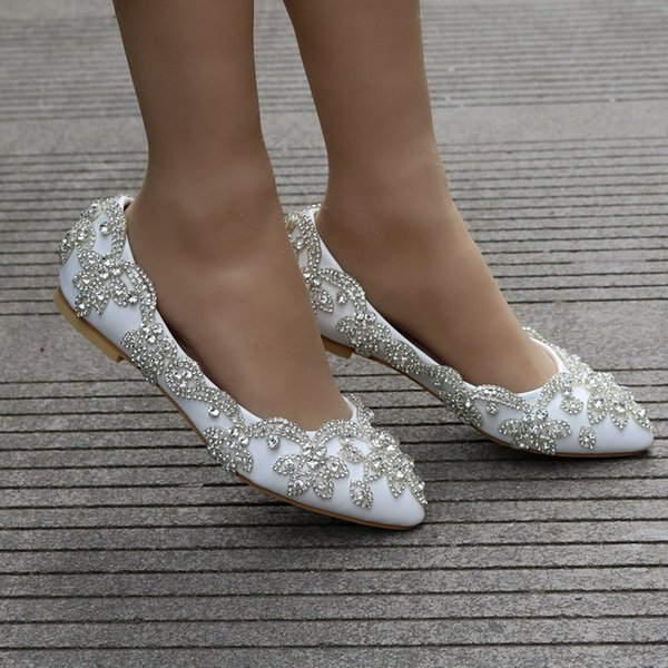 Crystal Rhinestones Bridal Shoes White Sparkly Pointed Toe Low Heel Wedding Shoes Women Shoes For Ceremony Party Plus Size AL2494