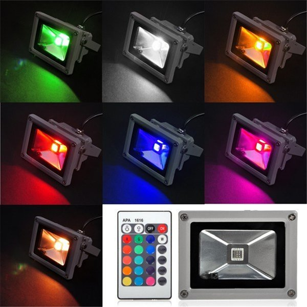 Outdoor Waterprof 10W RGB LED Flood Light Colorful Changing Wash Wall Mount Spot Light Remote Control 85-265V Garden Floodlight