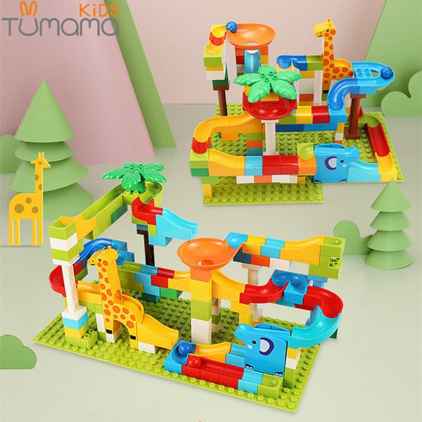 Tumama 52-143pcs Marble Race Run Jungle Adventure Track Building Blocks Big Size Maze Ball Building Bricks Compatible Duploed Y190606