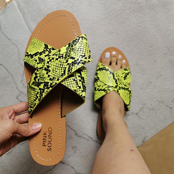 Новый 2020 мода змея летние пляжные тапочки плоские туфли женщина слайды зеленый черный Peep Toesandals дышащие женские тапочки