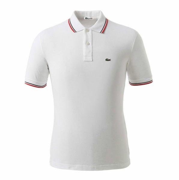 2019 Timsah Klasik Tarzı POLO Gömlek erkek Marka Tasarımcısı Nakış Logo Vahşi erkek Polo Gömlek Basit Dikiş Iş Rahat