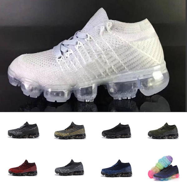 2018 Kids Running shoes Triple black Infant Sneakers Rainbow Children sports shoes girls and boys High quality Tennis trainers