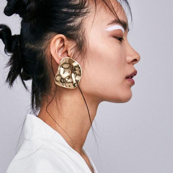 orecchini a goccia tondi in oro Orecchini per donne di lusso boho personalità grandi orecchini pendenti Distintivi in metallo geometrico vintage Gioielli per ragazze -P