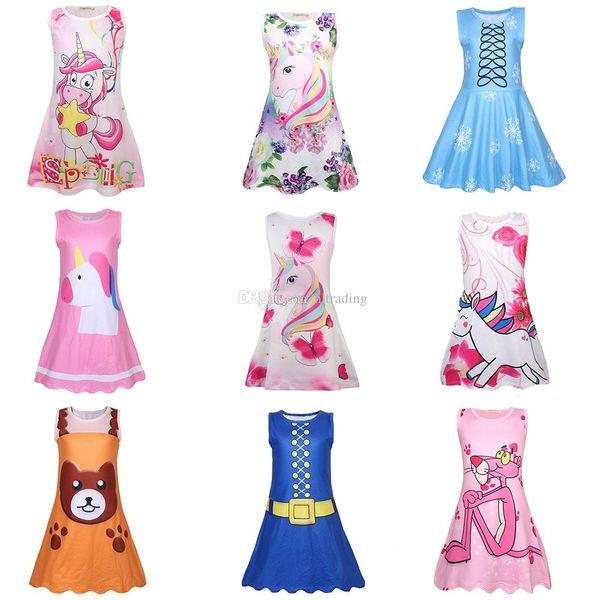 Acheter Bébé Filles Arc En Ciel Licorne Rose Panther Imprimer Robe Enfants Robe De Princesse Sans Manches Cartoon Boutique Boutique Vêtements
