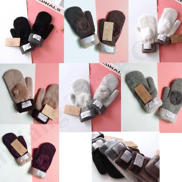 Brand UG Mittens Winter Knitted Gloves With Lovely Fur Ball women girls luxury Australia U&G Warm Pom Pom Glove Mitten Christmas Gift C91002