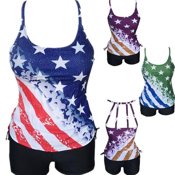 Bikini 2019 Sexy Women's Sexy One Piece Bikini Independence Day Swimsuit Patchwork Swimwear Sports Swimsuit Patchwork Beachwear