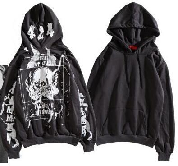Graffiti Skulls Design 424 Printed Mens Fashion Hoodies Women Casual High Street Pullover Hooded Sweatshirt Lovers Hoodies