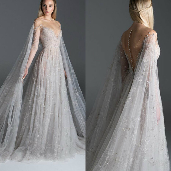 2020 Paolo Sebastian Evening Dresses Illusion Lace Embroidery Sheer Neck A Line Fairy Prom Dress With Wrap Custom Made Formal Party Gowns