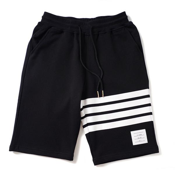 Erkek Yaz Tasarımcı Spor Kısa Pantolon Moda Pamuk Rahat Gevşek Giyim Diz Boyu Siyah Gary Rahat Giyim