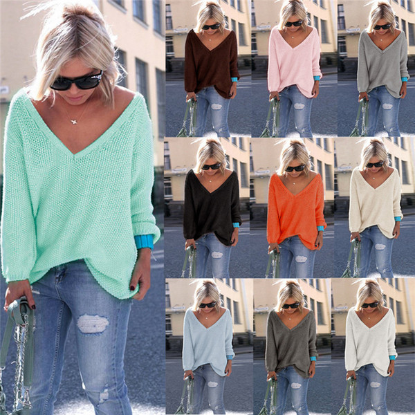 Long Sleeve Women Sweaters V Collar Plain Fashion Pullover Loose Coat 10colors size S-XL