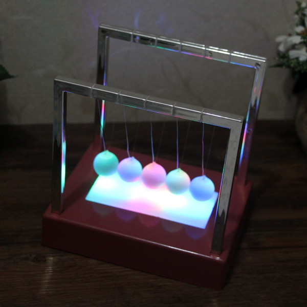 Newtons Balance Ball LED Pendulum Colorful Early Fun Development Educational Cradle Steel Physics Science Gift Desk Toy 50pcs AAA1855