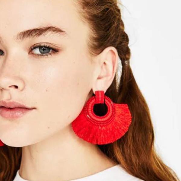 Boho Big Sector Tassel Earrings Hot Sale Multi Color Wedding Jewelry Wholesale New Charm Dangle Drop Earring For Women