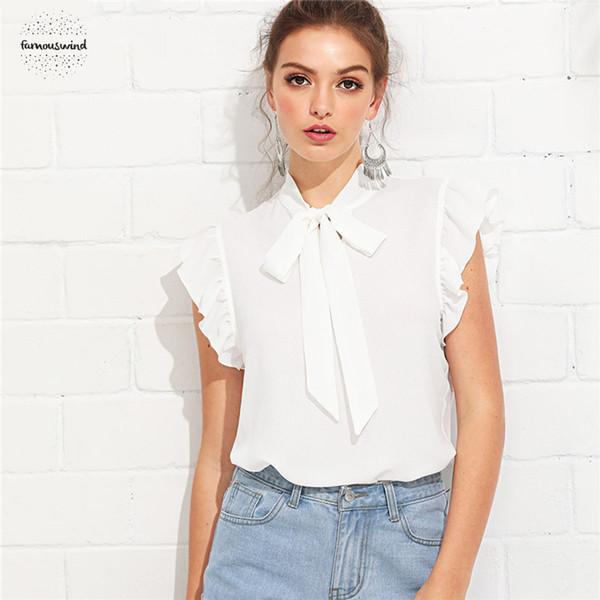 Bluz Beyaz Şık Kıyafetleri flounce Omuz Boyunluk fırfır Yaz Kadın Casual Haftasonu Gömlek Top Standı Bağlı